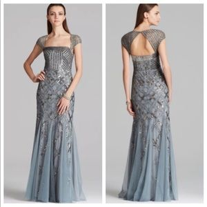 Adrianna Papell Cap Sleeve Gown Slate Gray